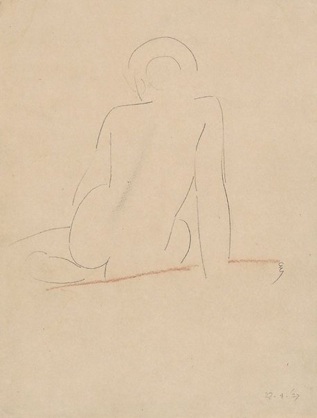 An image of Seated nude from behind by Eric Gill