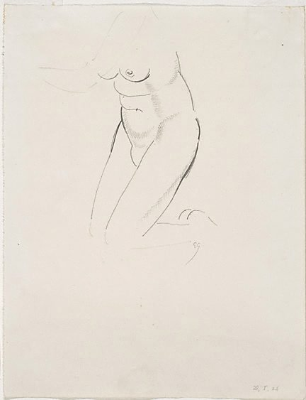 An image of Nude figure - kneeling by Eric Gill