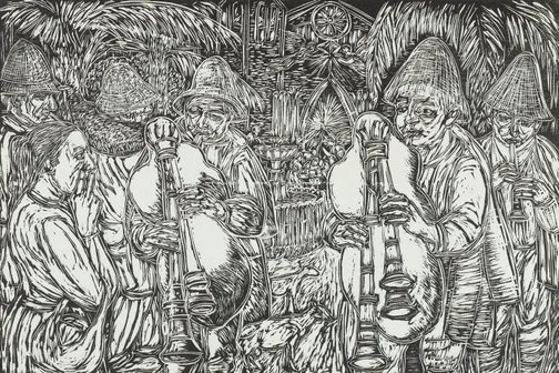 An image of Christmas Eve - shepherds with pipes by Salvatore Zofrea