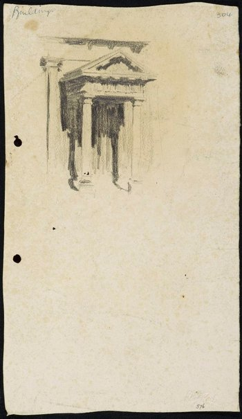 An image of recto: Side portico of St James' Church verso: The House with an attic [top, upside down] and Two men in a boat [bottom] by Lloyd Rees