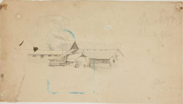 An image of (Farm building with cart and hay stack) (London genre)