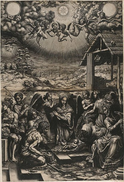 An image of The Nativity by Giorgio Ghisi, after Agnolo Bronzino