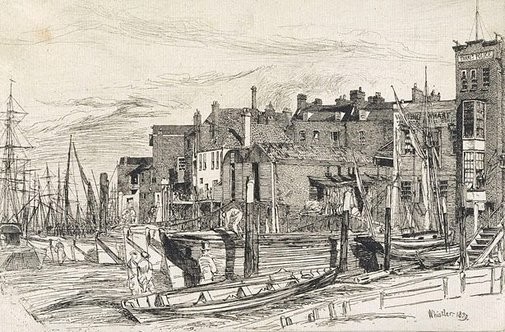 An image of Thames Police by James Abbott McNeill Whistler