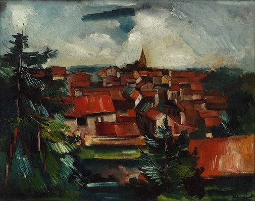 An image of The red roofs (Landscape) by Maurice de Vlaminck
