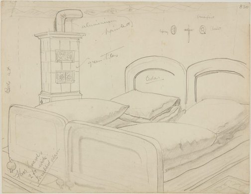 An image of (Bedroom interior) (London genre) by William Dobell