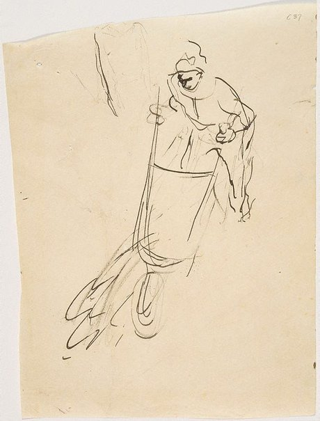 An image of (Man with wheelbarrow) (Early Sydney period) by William Dobell