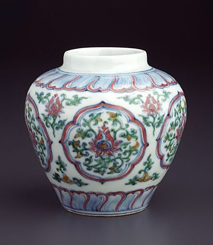 An image of Jar with five quatrefoil panels by Jingdezhen ware
