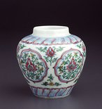 Alternate image of Jar with five quatrefoil panels by Jingdezhen ware