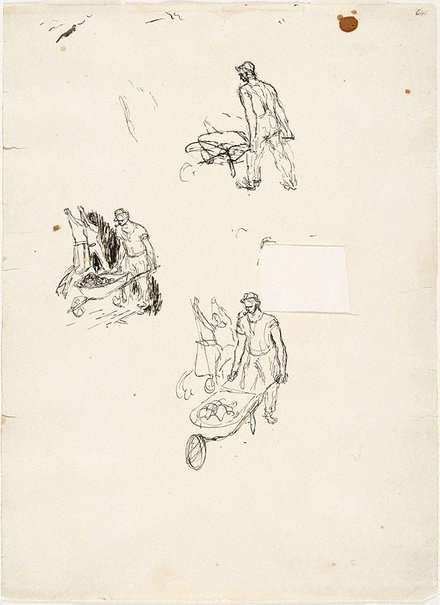 An image of (Studies of man with wheelbarrow) (Early Sydney period) by William Dobell
