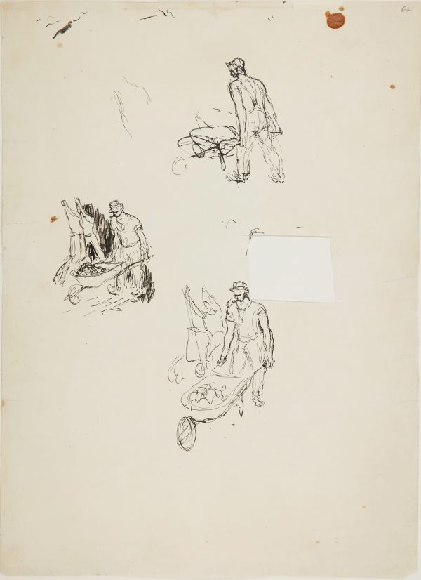 An image of (Studies of man with wheelbarrow) (Early Sydney period)