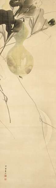 An image of Bottle gourd and sickle moon by Kishi Chikudô