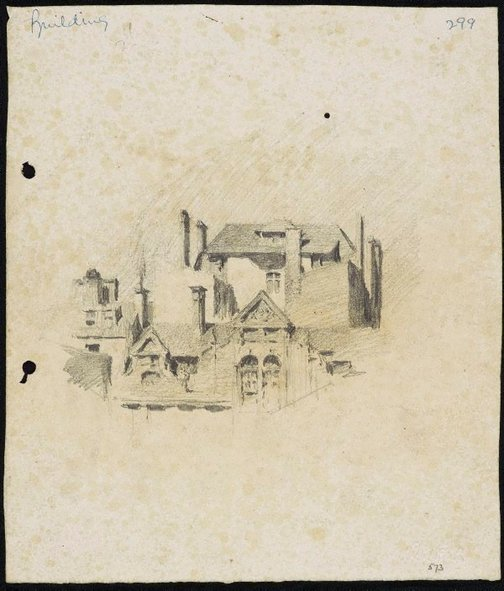 An image of recto: Houses with chimneys verso: Urn and balustrade [sideways] by Lloyd Rees