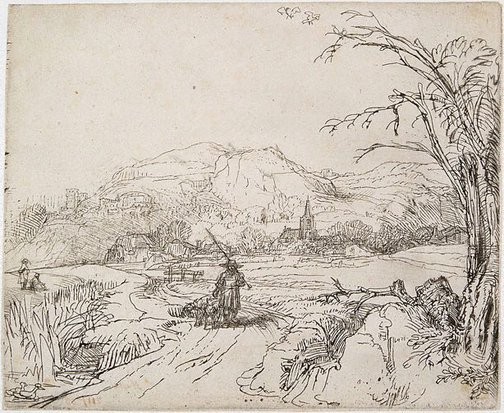 An image of Landscape with sportsmen and dogs by Rembrandt Harmensz. van Rijn