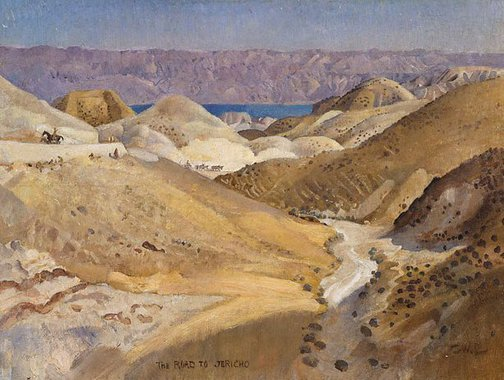 An image of The road to Jericho by George W Lambert