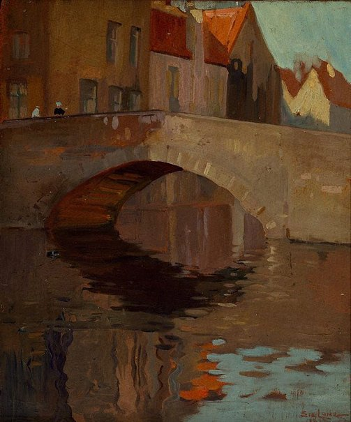 An image of Bruges bridge by Sydney Long