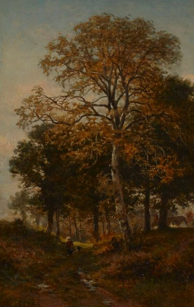 An image of A Worcestershire lane by Benjamin Williams Leader