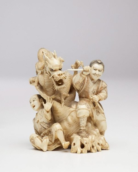 An image of Figure of Samurai fighting two-headed dragon (okimono) by MASAKAZU