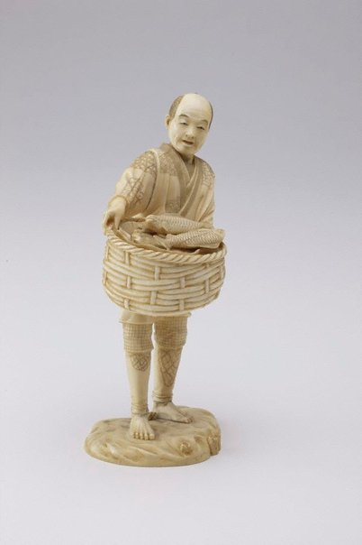 An image of Figure of a fish seller (okimono) by Unknown