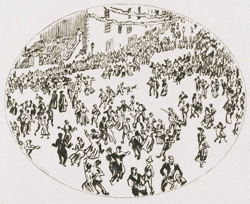 An image of Dancing on the Apostles' Day, Santiago de Compostela by Sir Muirhead Bone
