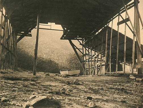 An image of Untitled (old boat house) by Harold Cazneaux
