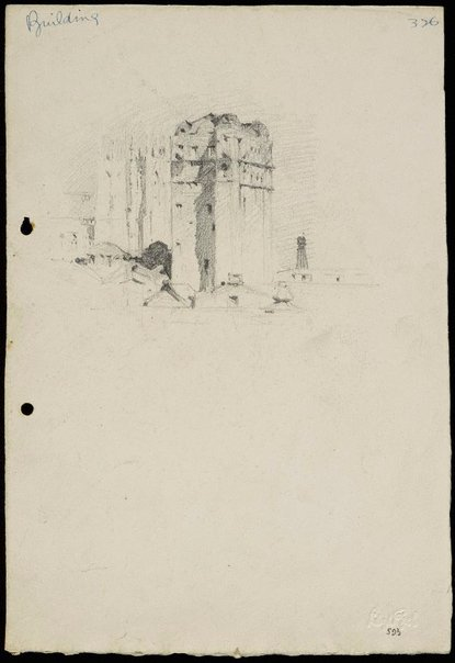 An image of recto: City building (St Andrews Cathedral to the left) verso:  Figure sketches by Lloyd Rees