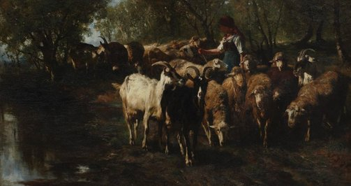 An image of Returning from pasture by Josef Braith