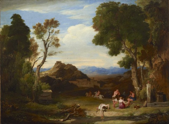 An image of An antique rural scene