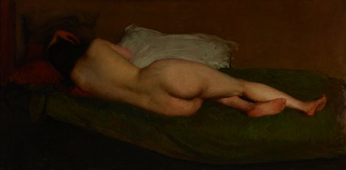 An image of Nude reclining by Hugh Ramsay