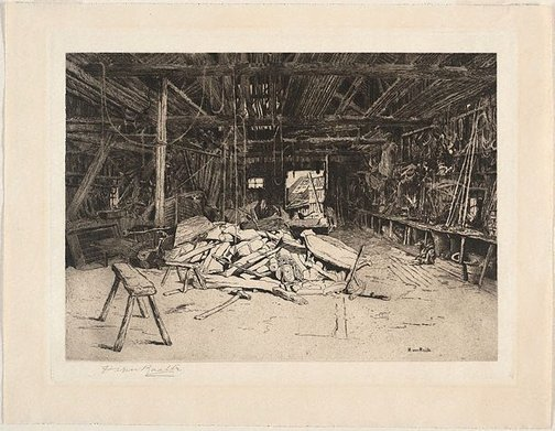 An image of The boat builder's shed (Rye) by Henri van Raalte