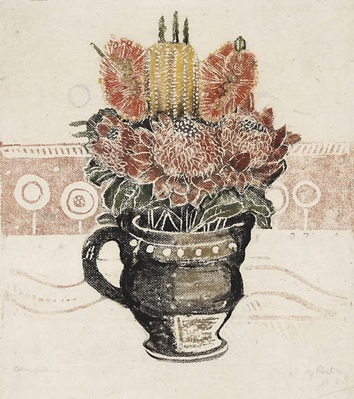 An image of Waratah etc by Margaret Preston