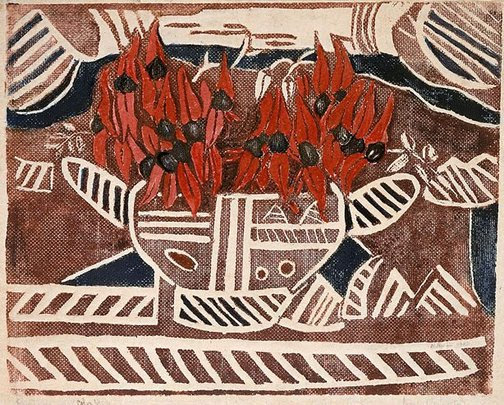 An image of Aboriginal design, with Sturt's Pea by Margaret Preston
