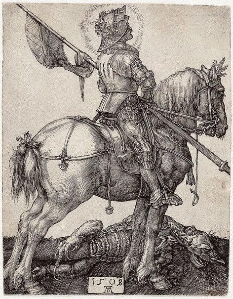 An image of St George on horseback by Albrecht Dürer