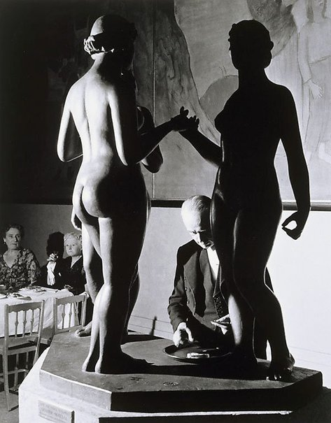 An image of Tate Gallery, Epstein Retrospective, waiter and statue by David Potts