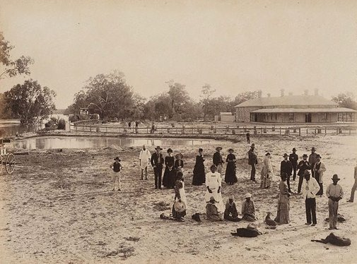 An image of Homestead, Dunlop Station, Darling River by Charles Bayliss