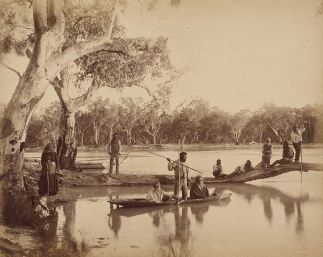 An image of Group of local Aboriginal people, Chowilla Station, Lower Murray River, South Australia