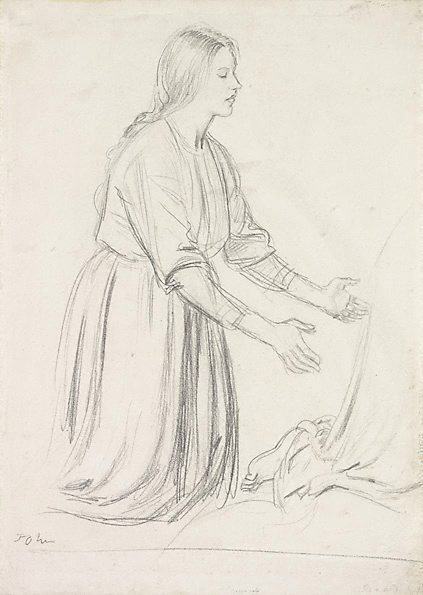 An image of Woman kneeling with arms outstretched by Augustus John OM