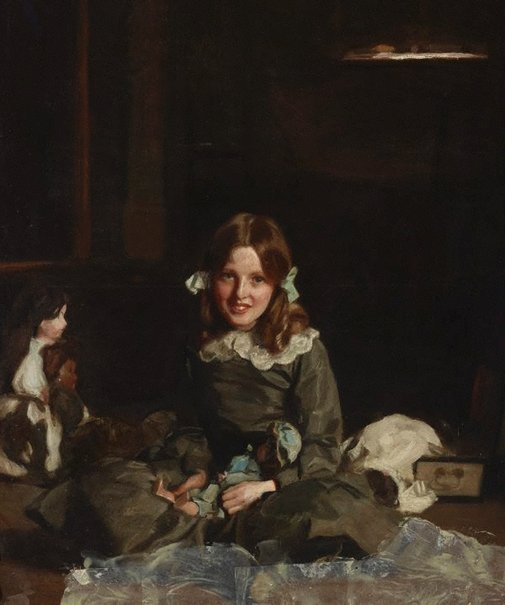 An image of Mona and her dolls by Harrington Mann
