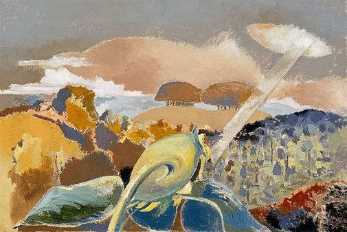 An image of Sunflower and sun by Paul Nash
