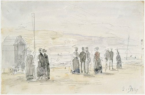 An image of Bathing hut, Trouville by Eugène Boudin