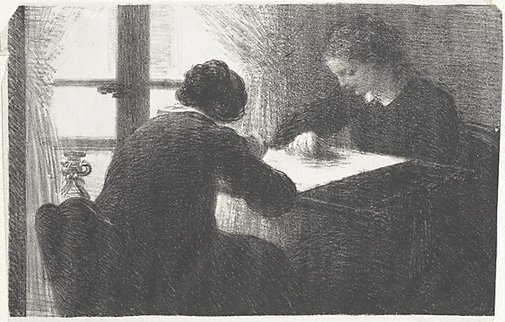 An image of Les brodeuses by Henri Fantin-Latour