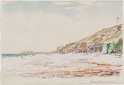 An image of Sunny morning, Cromer by Sir Muirhead Bone