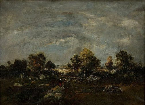 An image of A heath scene at Fontainebleau by Unknown