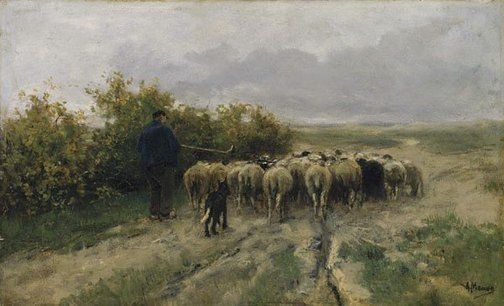 An image of Returning home: end of the day by Anton Mauve