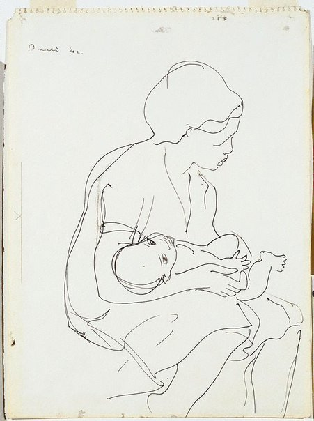 An image of Woman and child by Donald Friend