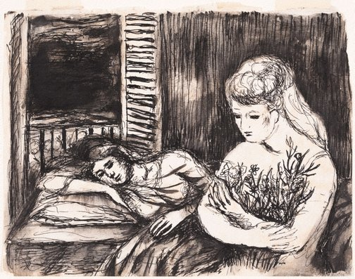 An image of The sick girl by David Strachan