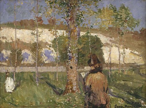 An image of Madame Sisley on the banks of the Loing at Moret by John Peter Russell