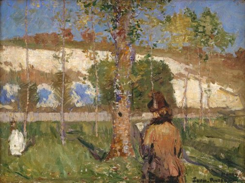 An image of Madame Sisley on the banks of the Loing at Moret by John Russell