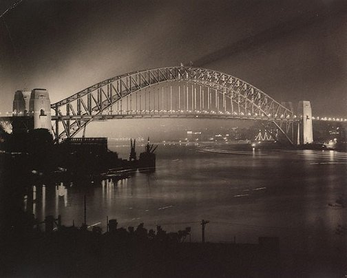 An image of Untitled (opening night of Sydney Harbour Bridge) by Harold Cazneaux