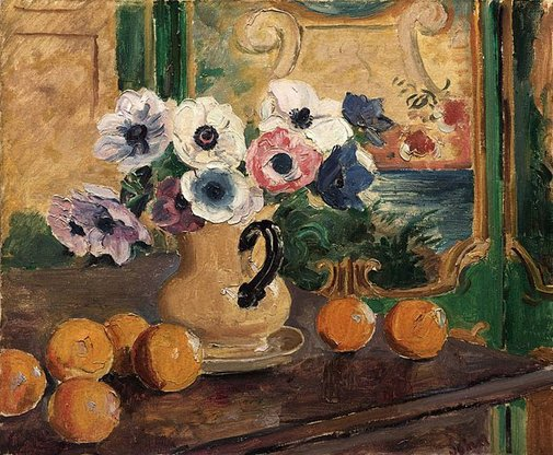 An image of Anemones and oranges by Augustus John OM