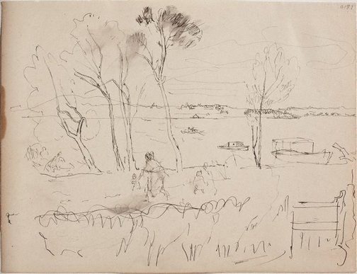 An image of (Landscape with figures) (Early Sydney period) by William Dobell